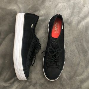 Keds Women's Triple Kick Striped Mesh Black shoe